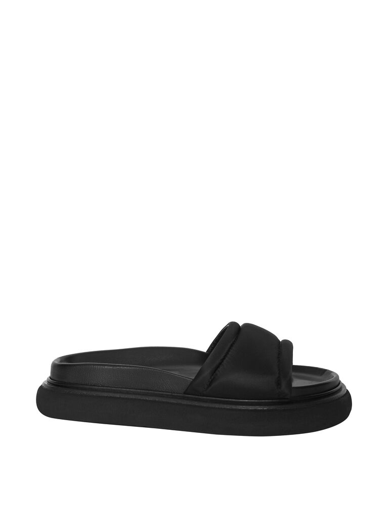 "THE ATTICO ""Noah"" black nylon flat mule 4"