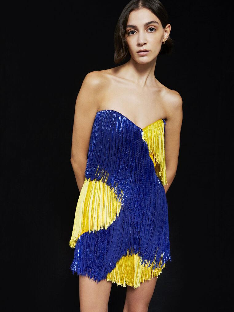 THE ATTICO ''Iris'' blue and yellow mini dress 2
