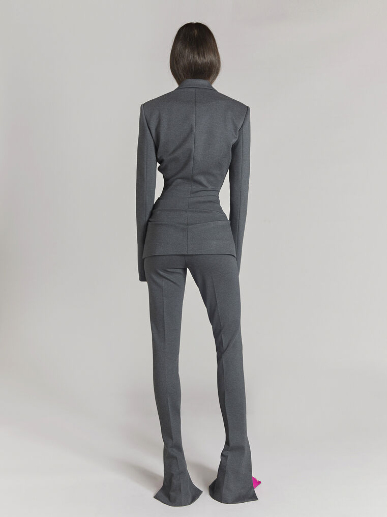 "THE ATTICO ""Monica"" charcoal draped jacket 3"