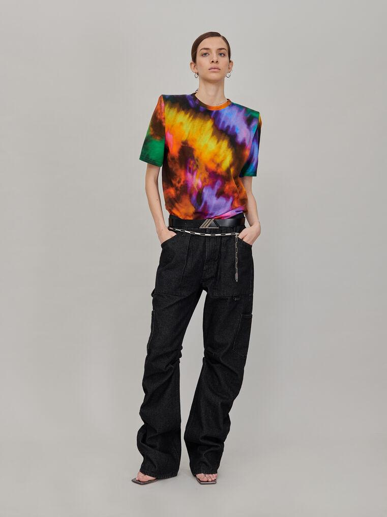 "The Attico ""Bella"" multicolor t-shirt with shoulder pads 1"