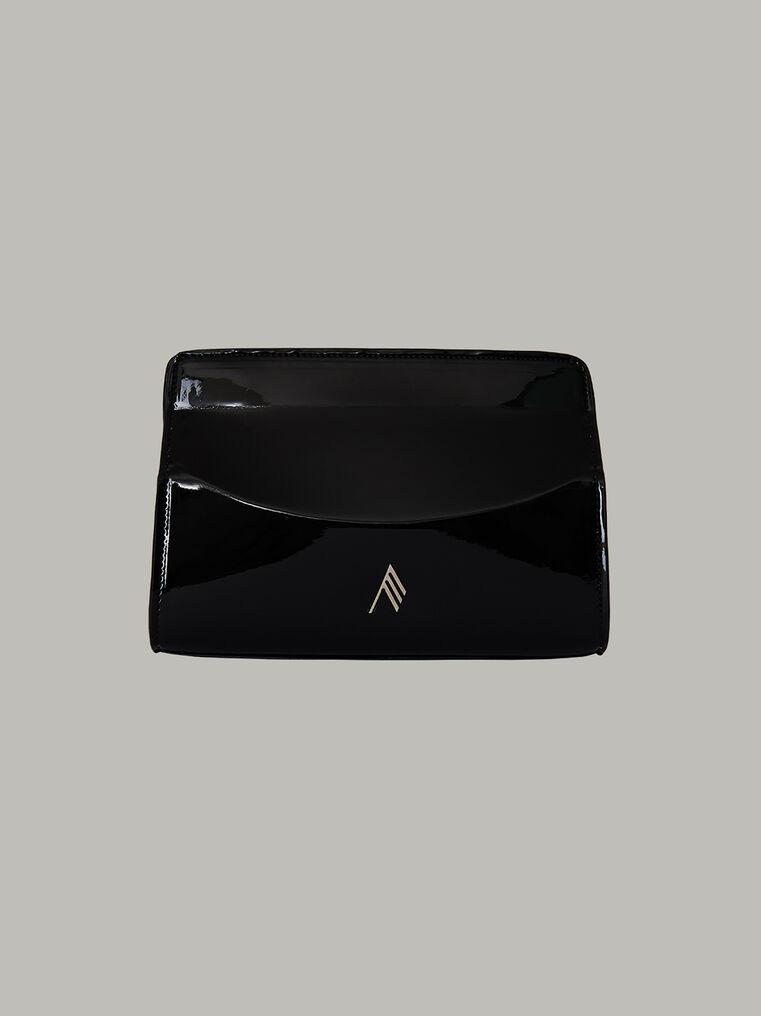 """The Attico """"Venice"""" pochette with chain 75 cm length in black vinyl 1"""