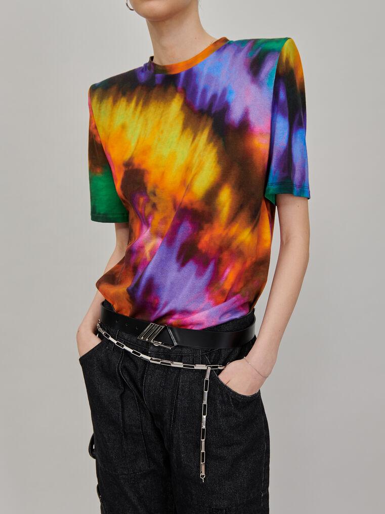 "The Attico ""Bella"" multicolor t-shirt with shoulder pads 2"