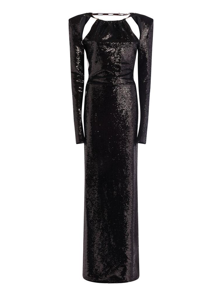 THE ATTICO ''Luna'' black long dress 4