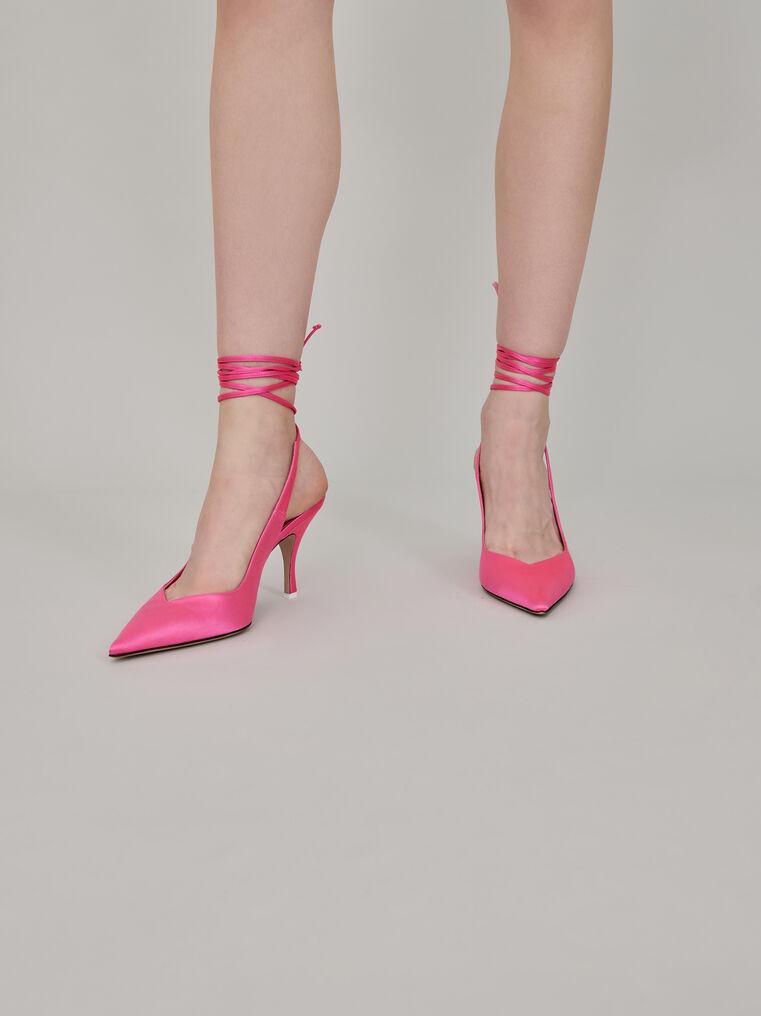 "The Attico Pink satin ""Venus"" slingback, heel height 85mm 1"