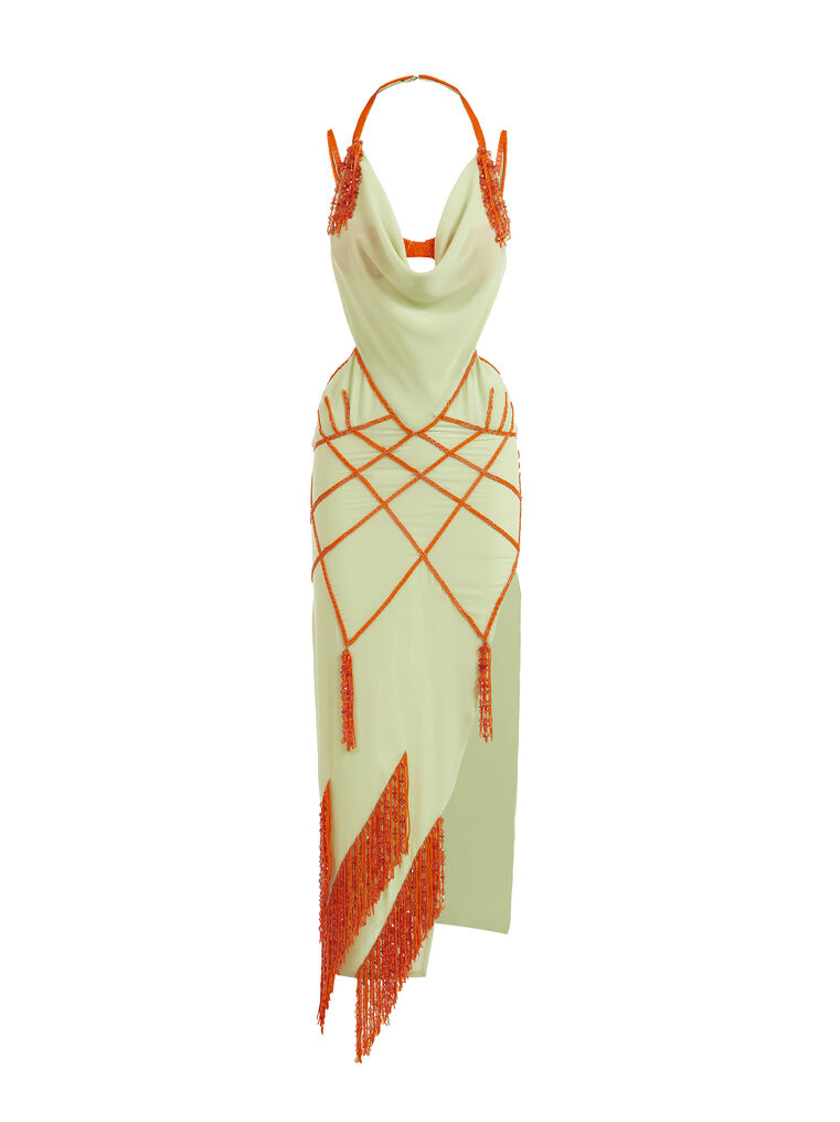 THE ATTICO ''Tulip'' green and orange long dress 4