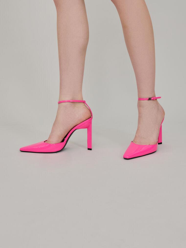 "The Attico Neon pink patent ""Amber"" slingback 1"