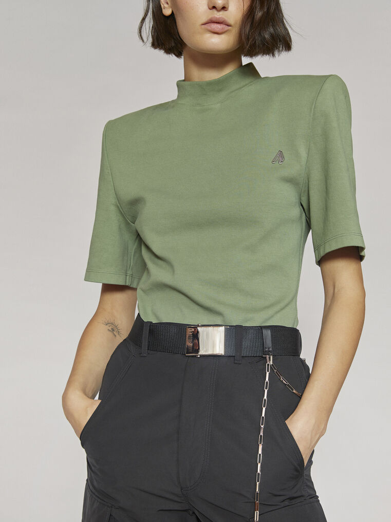 "THE ATTICO ""Tessa""olivine t-shirt 2"