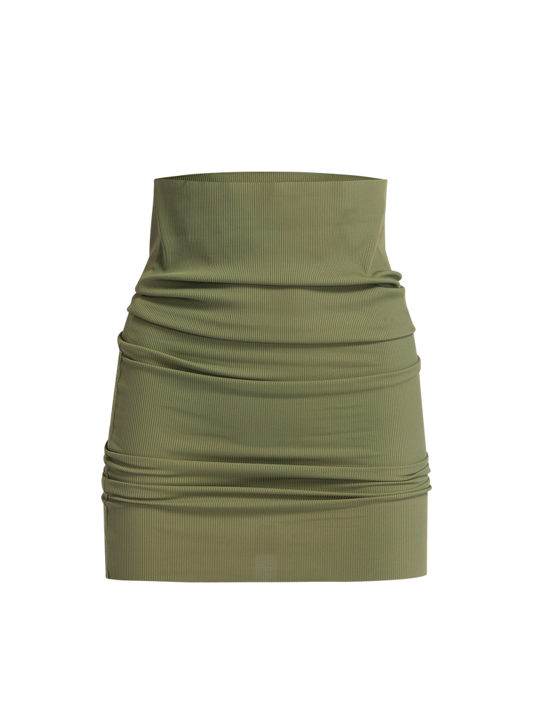 THE ATTICO Matte military green mini skirt 4