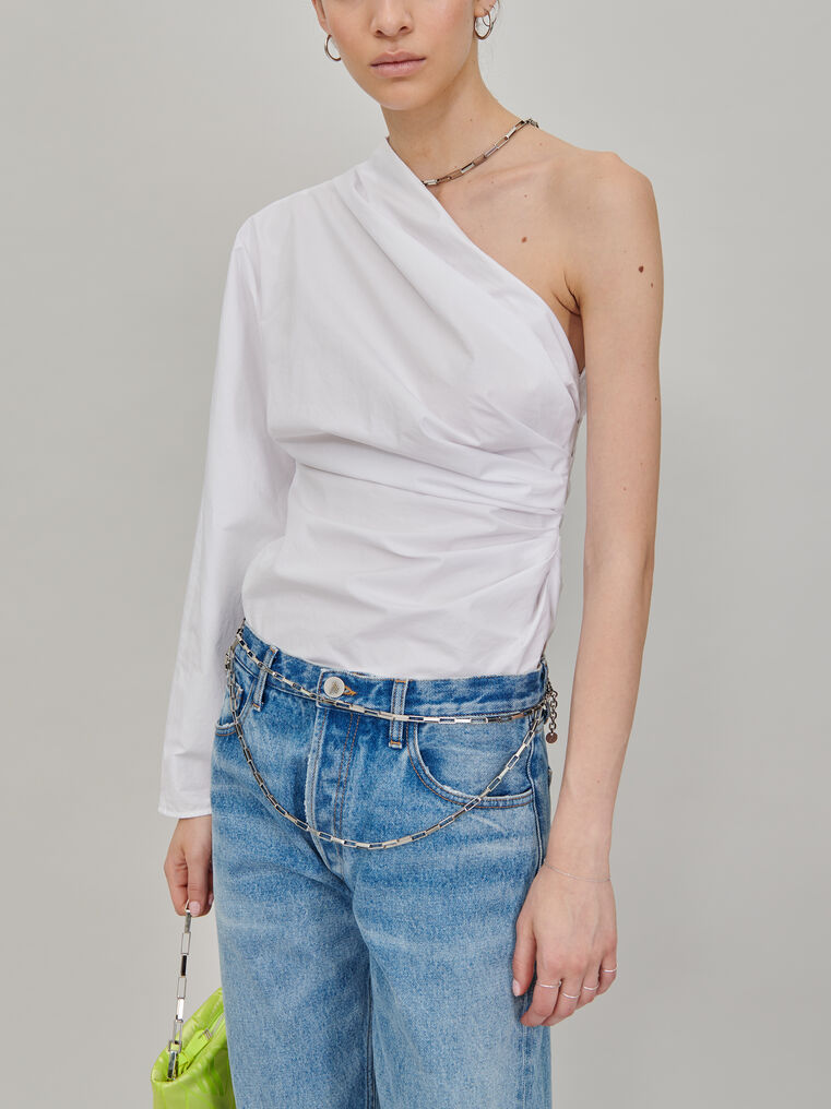 The Attico Single shoulder top with chain detail 2