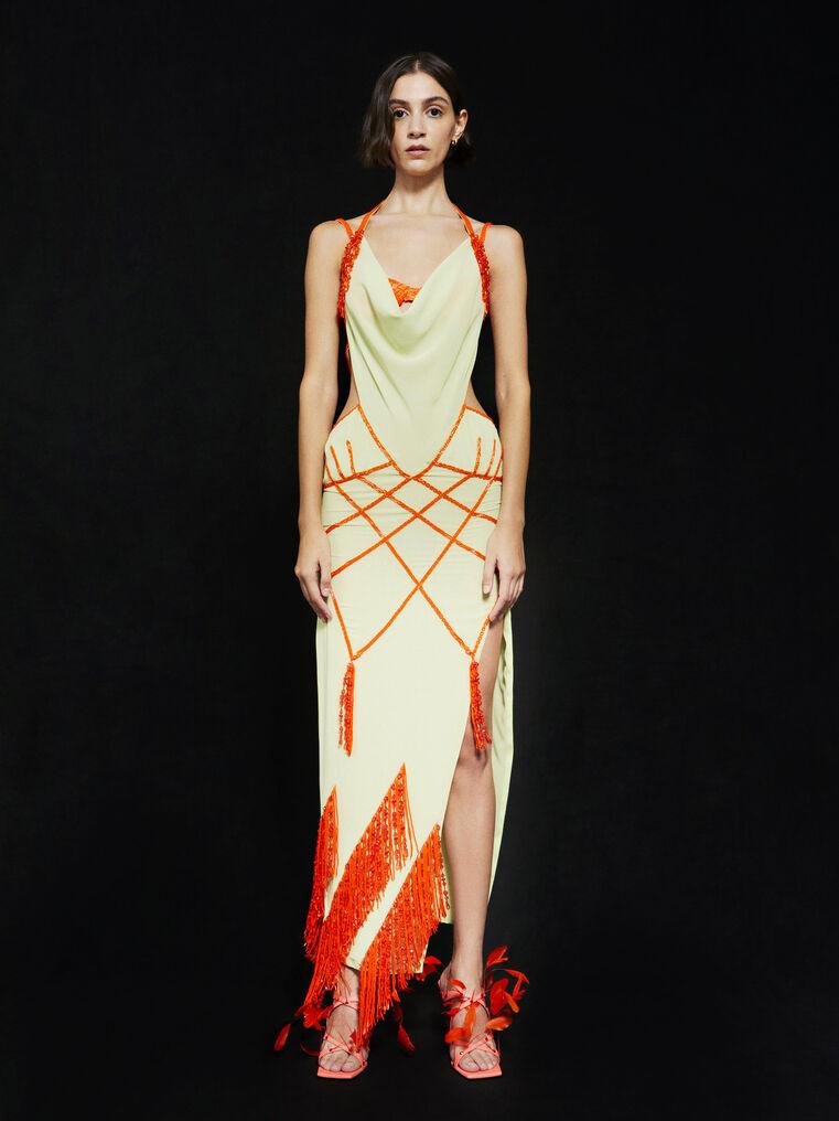THE ATTICO ''Tulip'' green and orange long dress 1