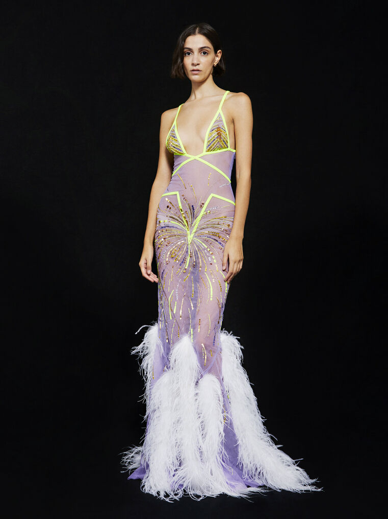 THE ATTICO ''Orchid'' lilac long dress 1
