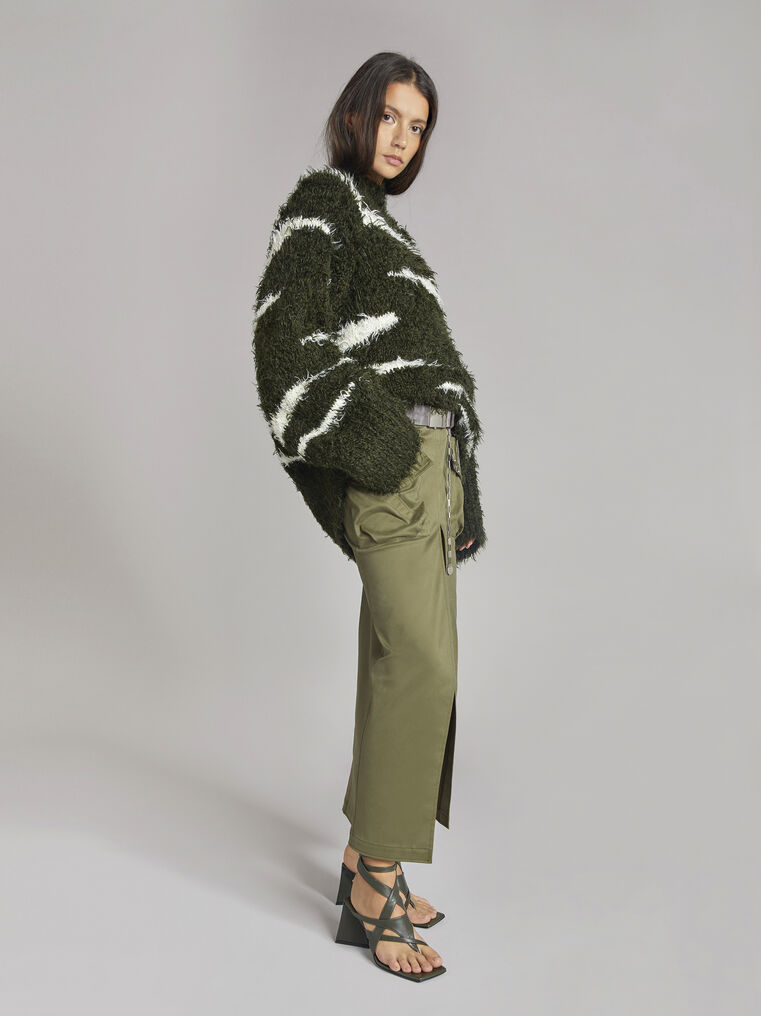 "THE ATTICO ""Vicen"" white and military green sweater 1"