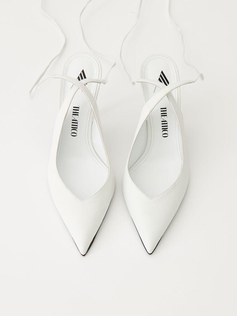 "The Attico White nappa leather ""Venus"" slingback, heel height 85mm 2"