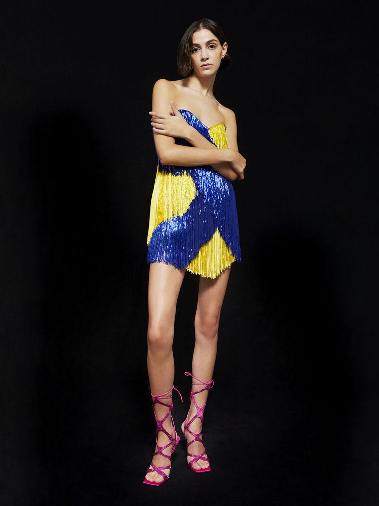 THE ATTICO ''Iris'' blue and yellow mini dress 4