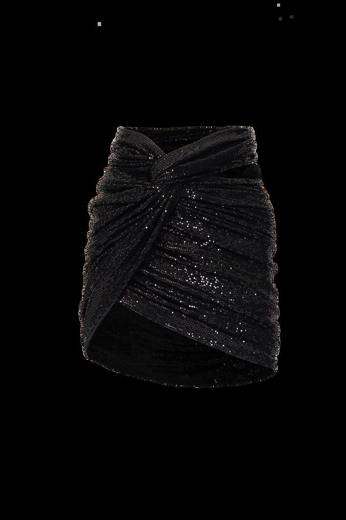 The Attico Black draped mini skirt 4