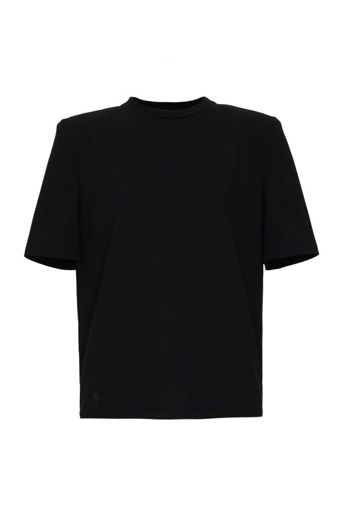 """The Attico """"Bella"""" black t-shirt with shoulder pads 3"""
