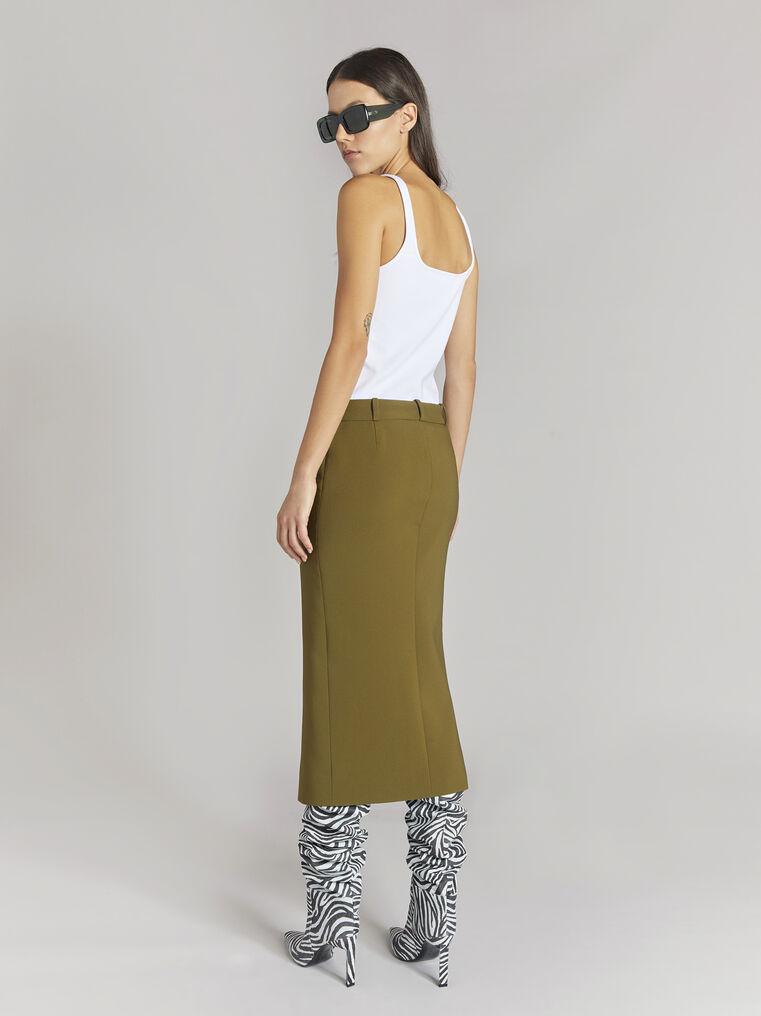 "THE ATTICO ""Cat"" military green midi skirt 3"