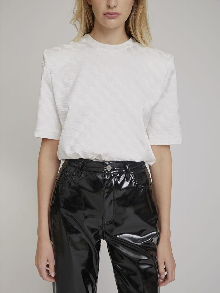 "The Attico ""Bella"" monogram white t-shirt with shoulder pads 2"