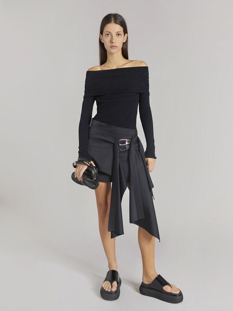"THE ATTICO ""Robin"" black asymetrical mini skirt 1"