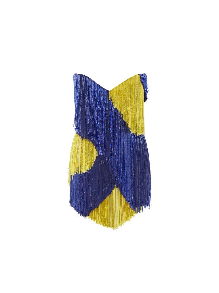 THE ATTICO ''Iris'' blue and yellow mini dress 6