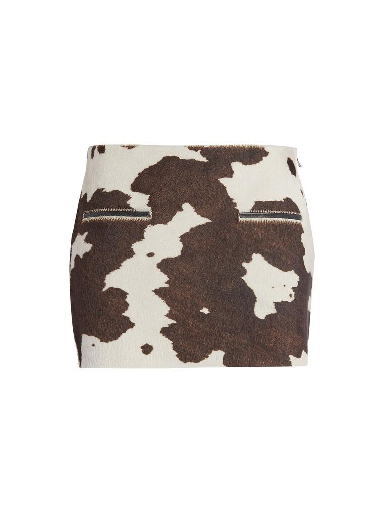 """THE ATTICO """"Edie"""" natural cow print mini skirt 4"""