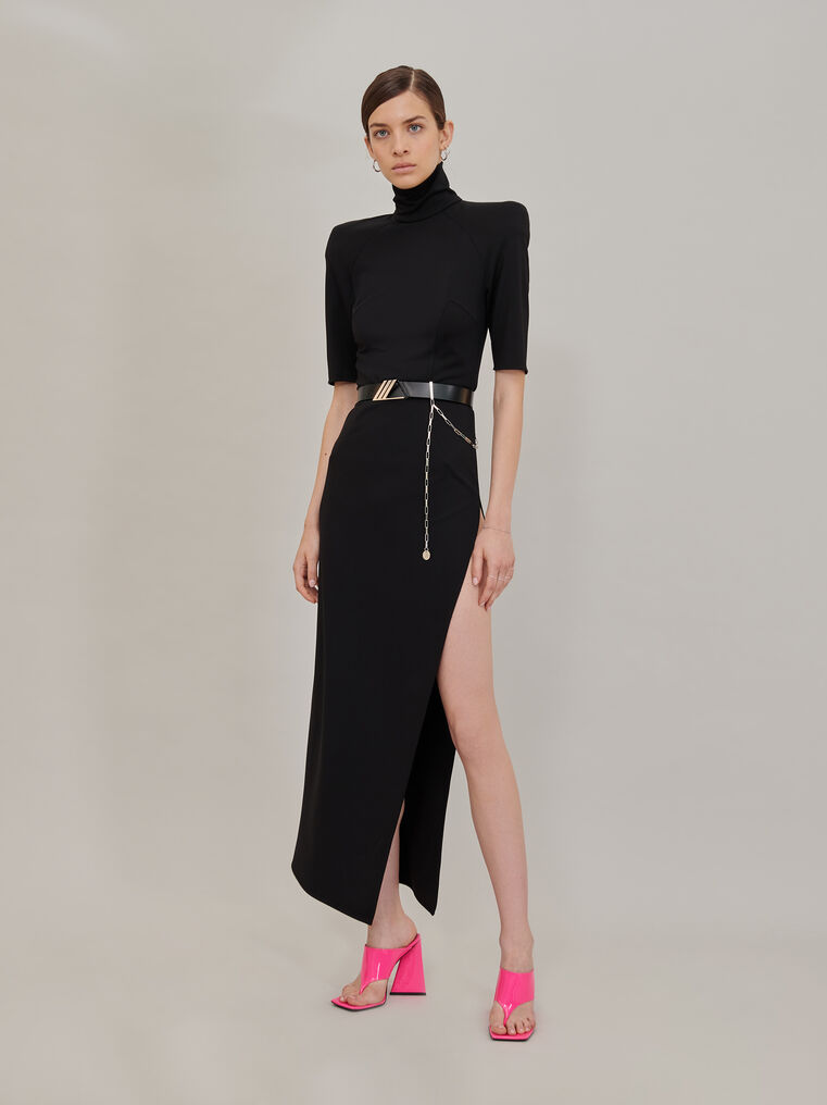 "The Attico ""Eva"" midi dress with turtle neck and slit 1"
