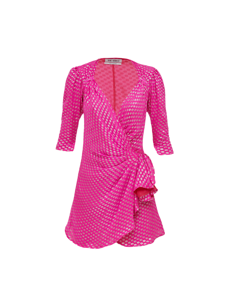 The Attico Mini Dress Pat Fuchsia And Silver 4