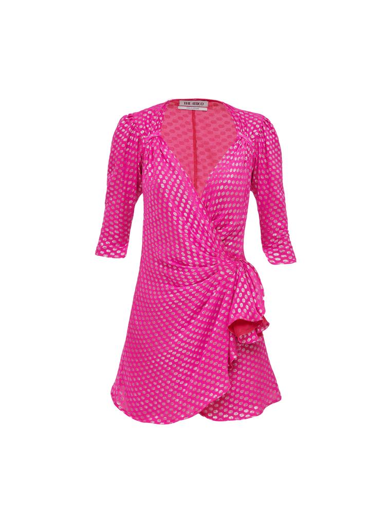 The Attico Mini Dress Pat Fuchsia And Silver 4