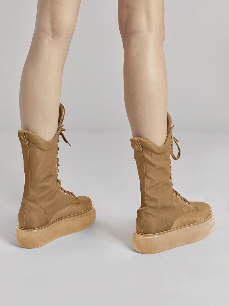 "THE ATTICO ""Selene"" camel boots flatform 3"