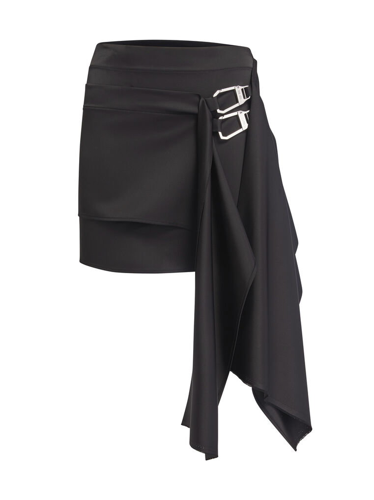 "THE ATTICO ""Robin"" black asymetrical mini skirt 4"