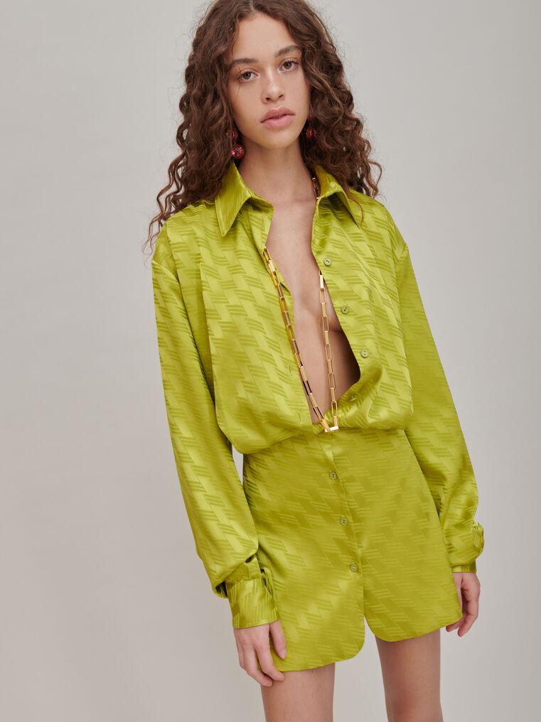 """The Attico """"Gigi"""" monogram pistache chemisier mini dress 3"""