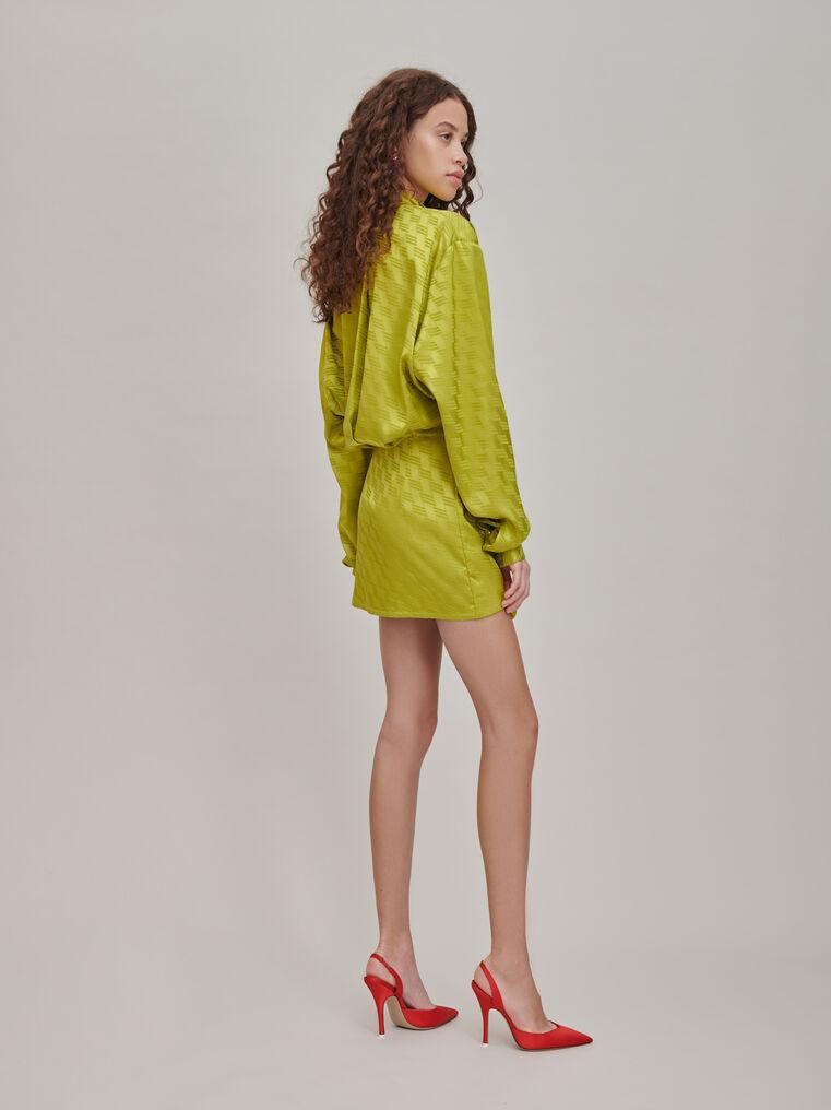 """The Attico """"Gigi"""" monogram pistache chemisier mini dress 2"""