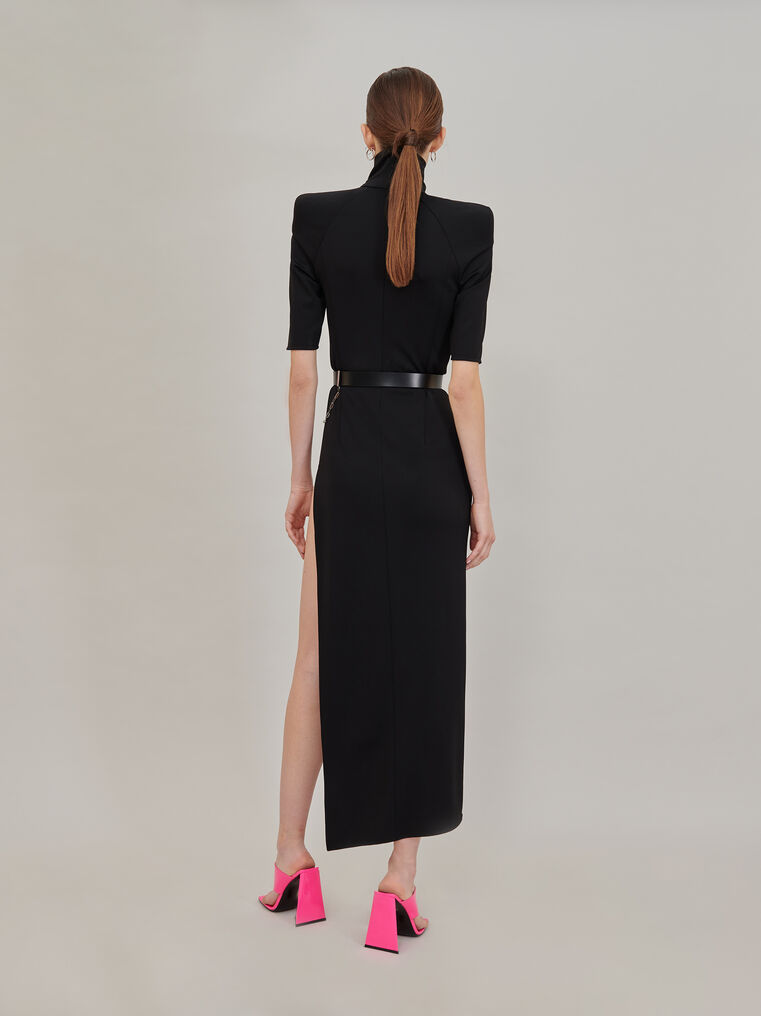 "The Attico ""Eva"" midi dress with turtle neck and slit 3"