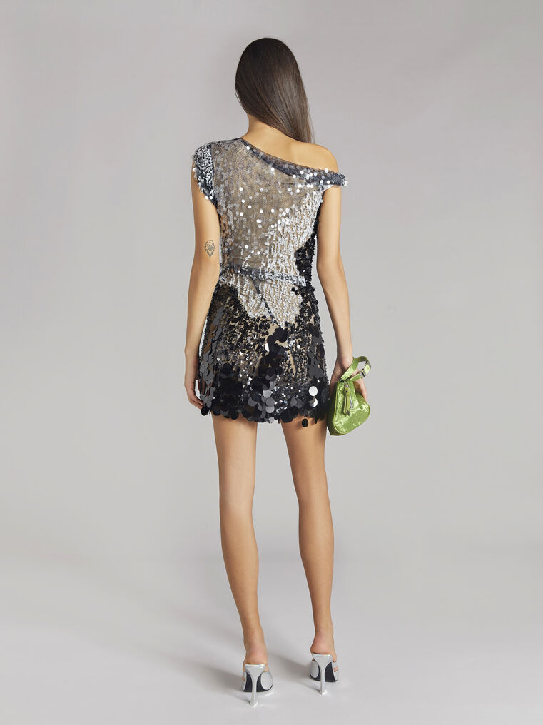 THE ATTICO Twisted iridescent black mini dress 3