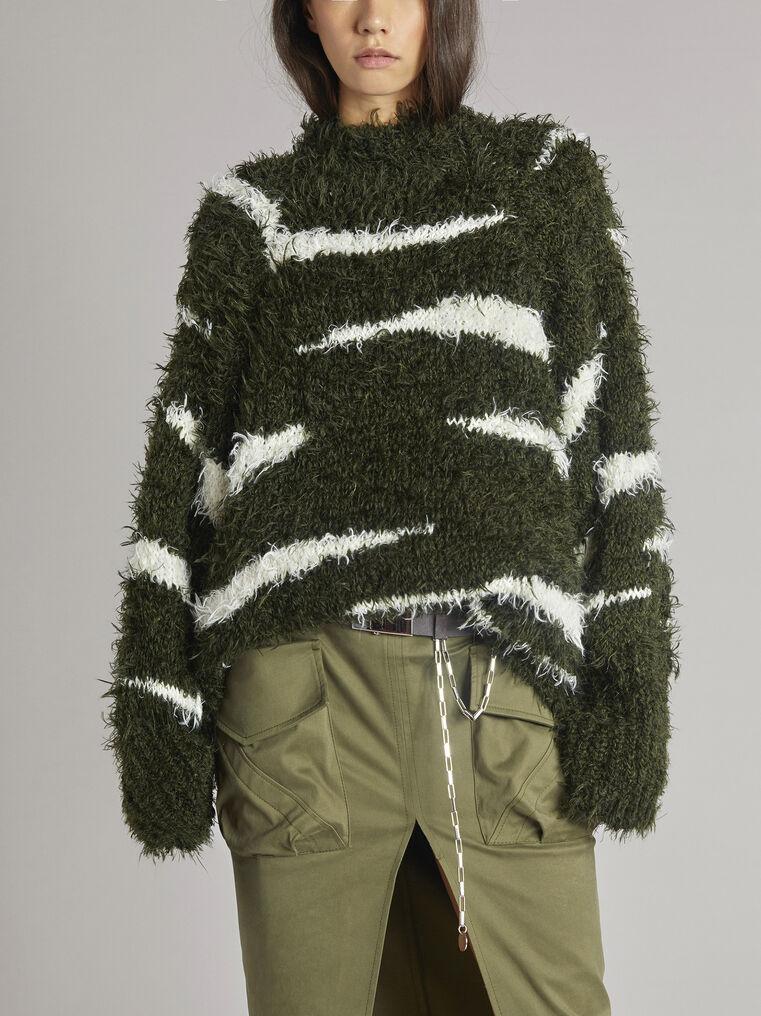 "THE ATTICO ""Vicen"" white and military green sweater 2"