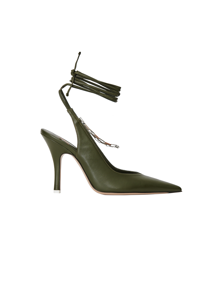 "The Attico Ivy green nappa leather ""Venus"" slingback with chain anklet 4"