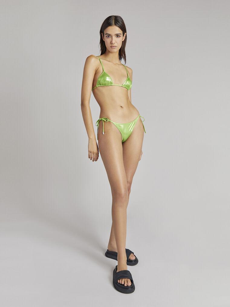 THE ATTICO Pear green metallic triangle bikini 1