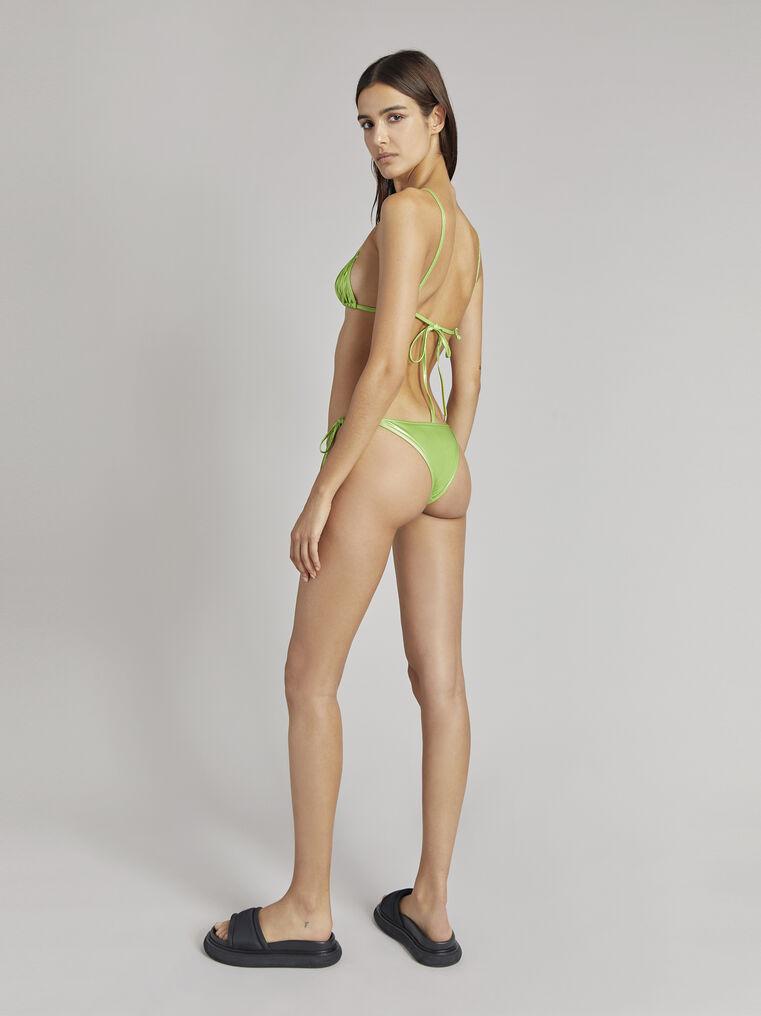 THE ATTICO Pear green metallic triangle bikini 3