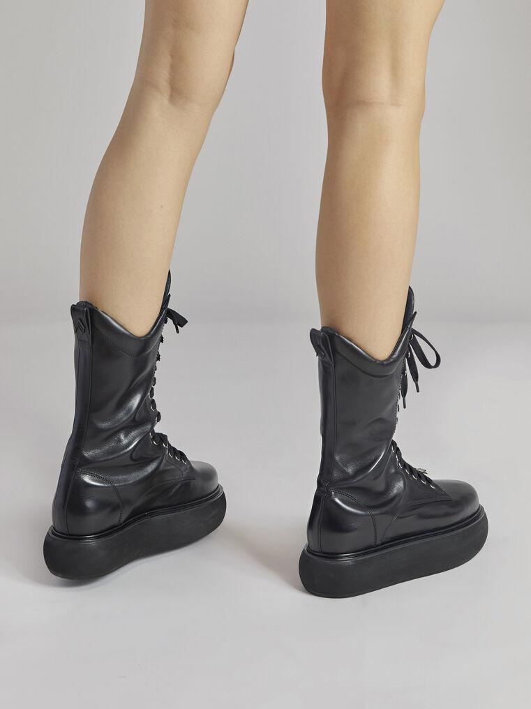 "THE ATTICO ""Selene"" black flat medium boots 3"
