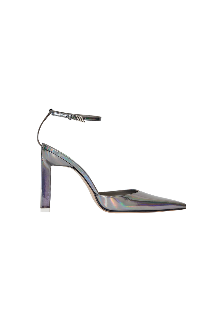 "The Attico Mirrored iridescent steel leather ""Amber"" slingback 4"