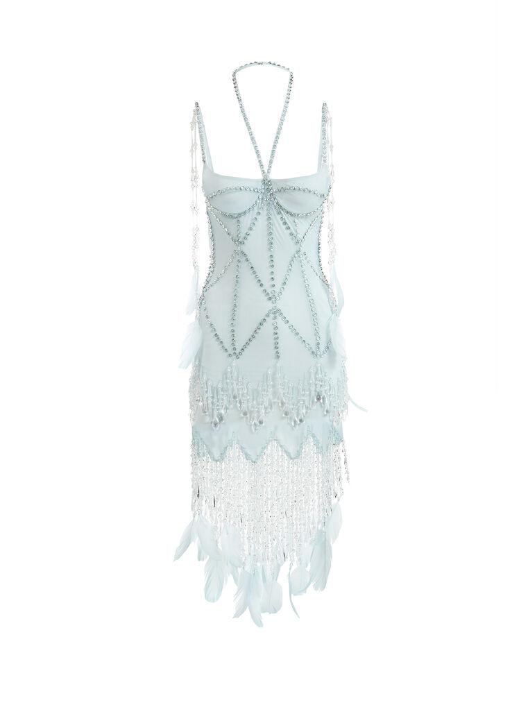 THE ATTICO ''Lily'' aquamarine bustier mini dress 4