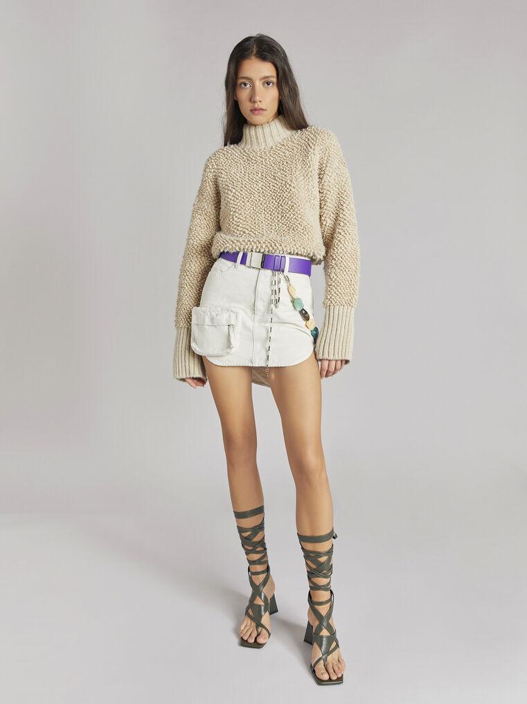 THE ATTICO Cream mini skirt 1
