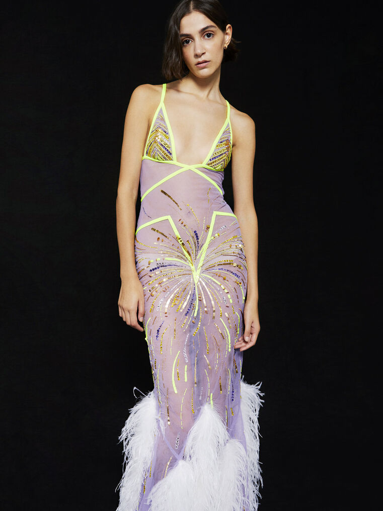 THE ATTICO ''Orchid'' lilac long dress 2