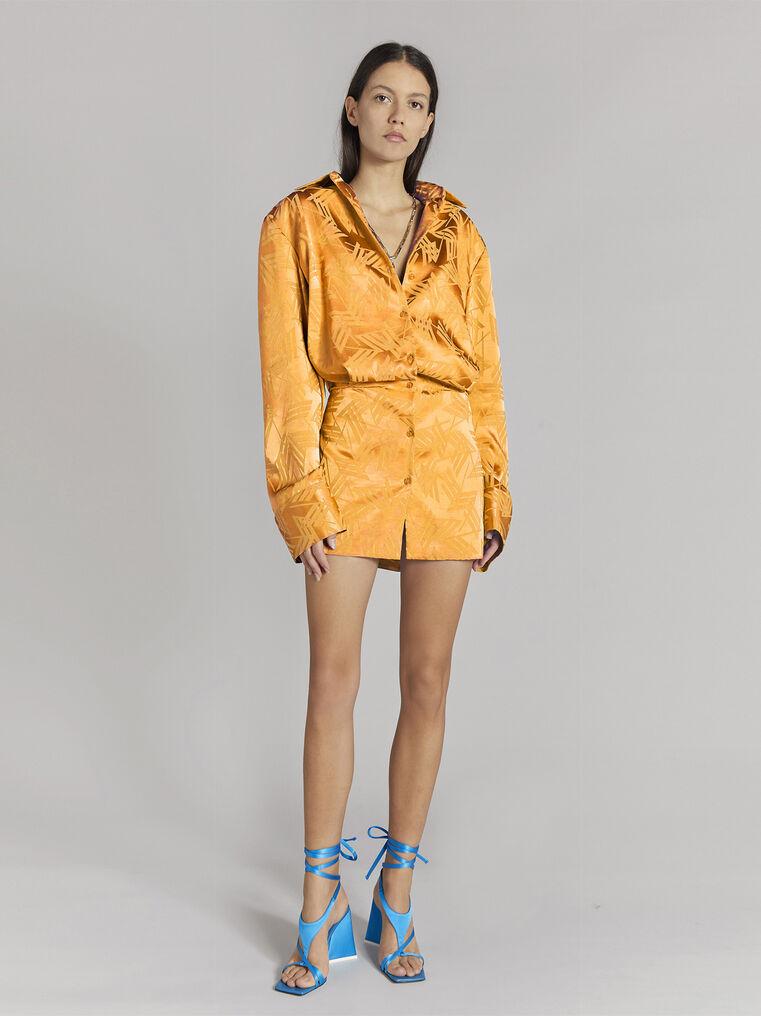 "THE ATTICO ""Margot"" neon orange chemisier mini dress 1"