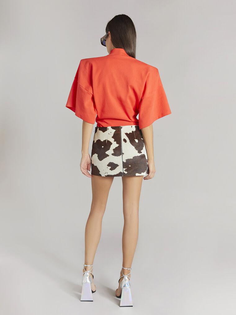 """THE ATTICO """"Edie"""" natural cow print mini skirt 3"""