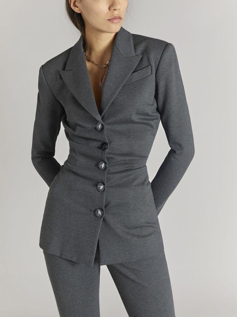 "THE ATTICO ""Monica"" charcoal draped jacket 2"