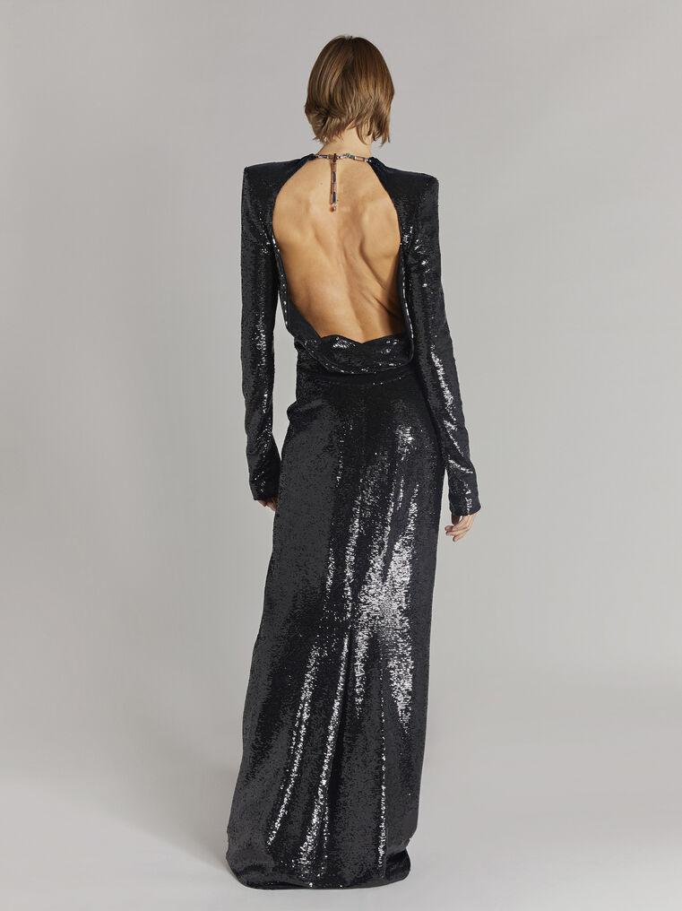 THE ATTICO ''Luna'' black long dress 3
