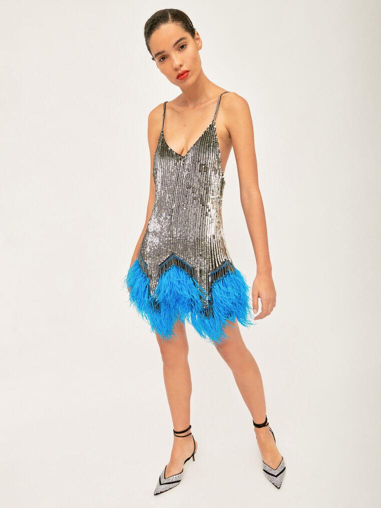 The Attico Embro And Ostrich Feathers Strapless Mini Dress 3