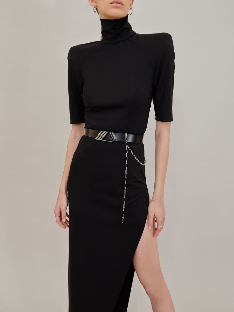 "The Attico ""Eva"" midi dress with turtle neck and slit 2"