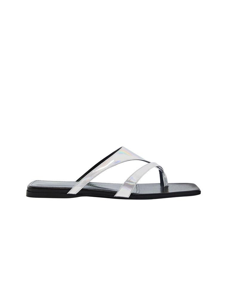 "THE ATTICO ""Atena"" mirrored iridescent silver flat thong 4"
